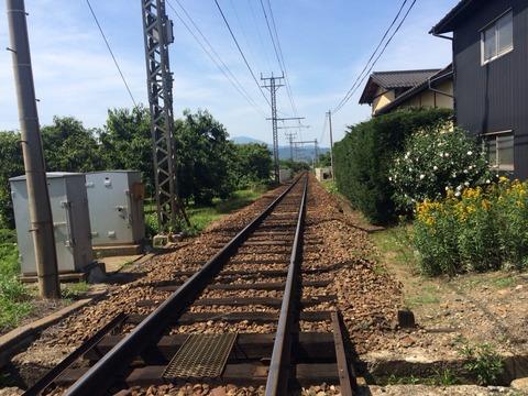夏の単線線路